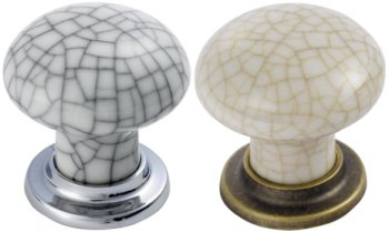 Crackle Porcelain Mushroom Cupboard Knobs