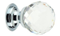 Clear Faceted Glass Cabinet Knob