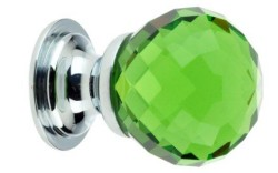 Green Facetted Glass Cabinet Knob