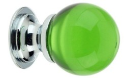 Green Glass Ball Cabinet Knob