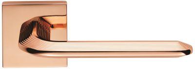 Copper Era Lever Handles on Square Rose