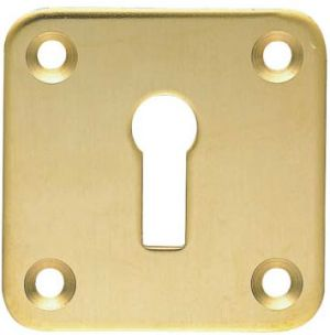 Square Brass Escutcheon - Keyhole Cover