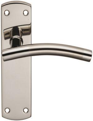 Stainless Steel Curved Door Handles on Backplate