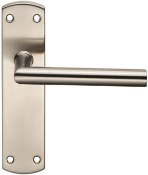 Stainless Steel Mitred Door Handles on Backplate