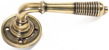 Reeded Door Lever on Rose