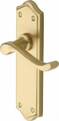 Satin Brass Buckingham Door Handles