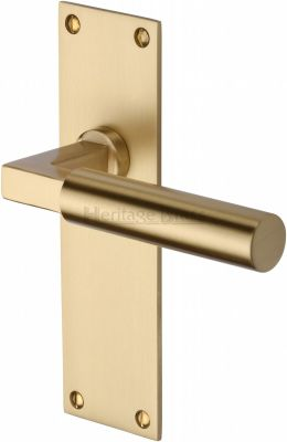 Satin Brass Bauhaus Door Handles