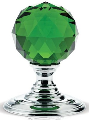 Green Facetted Glass Door Knobs