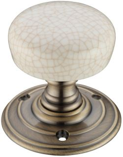 Fulton and Bray Ivory Crackle Porcelain Door Knobs
