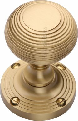 Satin Brass Reeded Door Knobs