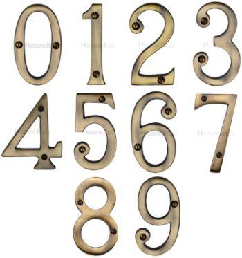 Antique Brass Door Numbers