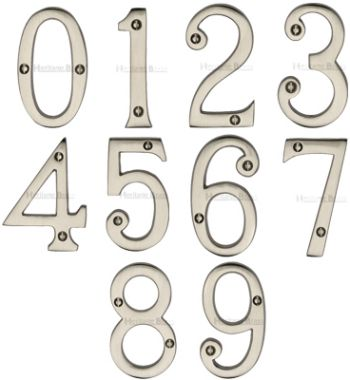 Satin Nickel Door Numbers (76mm)