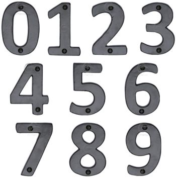 Smooth Black Iron Door Numbers