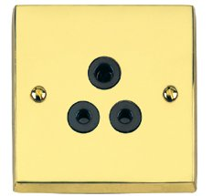 Polished Brass Victorian Round Pin Sockets