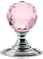 Pink Facetted Glass Door Knobs