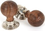 Rosewood Beehive Door Knobs on Polished Nickel