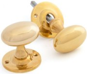 Unlacquered Brass Oval Door Knobs