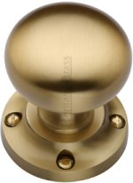 Satin Brass Victoria Door Knobs